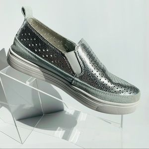 Bernie Mev. Silver Perforated Leather Sneakers